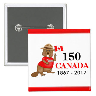 Proudly Canadian Beaver 150 Anniversary 2 Inch Square Button