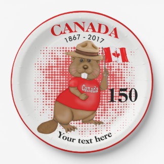 Proudly Canadian Beaver 150 Anniversary 9 Inch Paper Plate