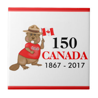 Proudly Canadian Beaver 150 Anniversary Ceramic Tile