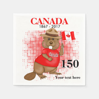 Proudly Canadian Beaver 150 Anniversary Disposable Napkins