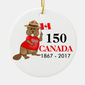 Proudly Canadian Beaver 150 Anniversary Round Ceramic Ornament