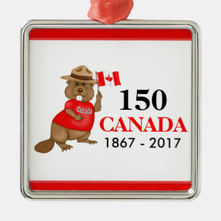 Proudly Canadian Beaver 150 Anniversary Silver-Colored Square Ornament