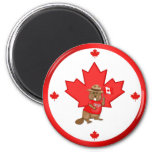 Proudly Canadian Beaver 2 Inch Round Magnet