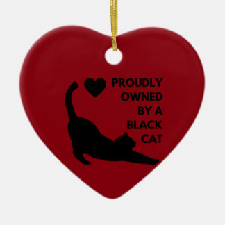 Proudly Owned by a Black Cat Ceramic Heart Ornament