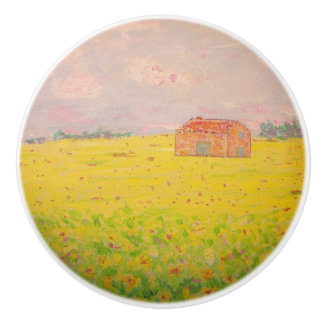 provence france cottage with sunflower field ceramic knob