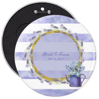 Provence Lavender Purple Flower Floral Wedding 6 Inch Round Button