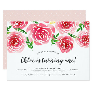 Provence Rose | First Birthday Party Invitation