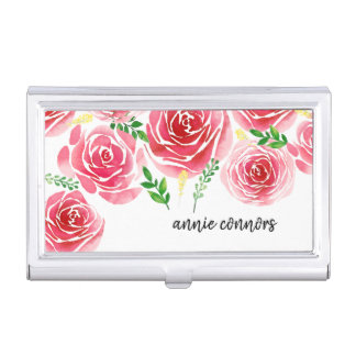 Provence Rose Personalized Business Card Holder