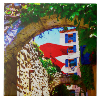 Provence village view with red umbrellas tile