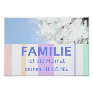 Proverb picture German sayings family Poster