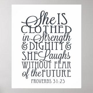 Proverbes 31 cadeaux - vêtus de la force et de la poster