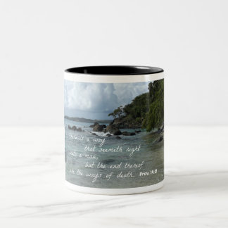 Proverbs 14:12 There is a way which seemeth right Two-Tone Coffee Mug