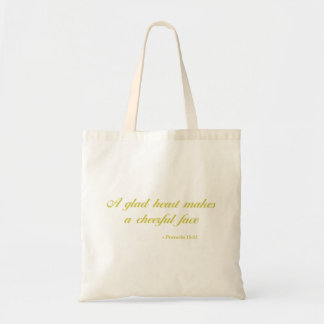 Proverbs 15:13 | Bible Quote | Yellow Tote Bag