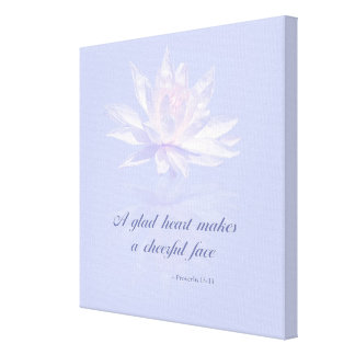 Proverbs 15:13 | Bible Verse | Lavender Water Lily Canvas Print