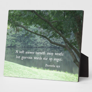 Proverbs 15:1 A soft answer turneth away wrath Plaque