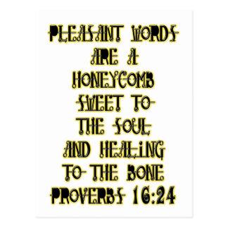 Proverbs 16:24 postcard