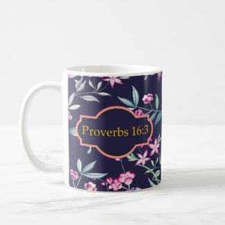 Proverbs 16:3 Bible Verse Floral Mug