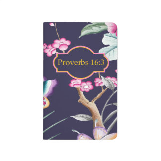 Proverbs 16:3 Bible Verse Floral Notebook