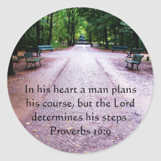 Proverbs 16:9 Inspirational Bible Verse Classic Round Sticker