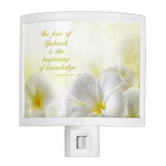Proverbs 1:7 | Bible Verse | Yellow Floral Night Light