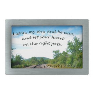 Proverbs 23:19 rectangular belt buckle