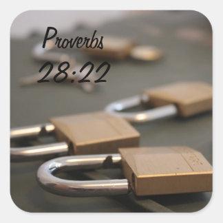 Proverbs 28:22 Padlock Sticker
