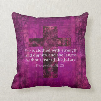 Proverbs 31:25 Inspirational Bible quote for Women Throw Pillow
