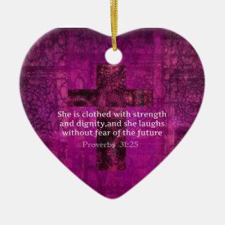 Proverbs 31:25 Inspirational Bible Verse  Women Ceramic Heart Ornament