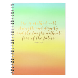 Proverbs 31:25 Notebook - Summer Faux Foil Script