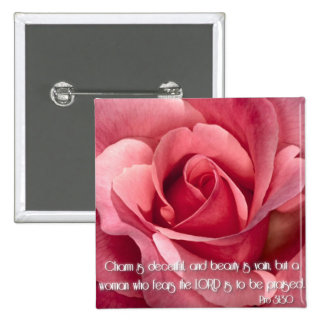 Proverbs 31:30 2 inch square button