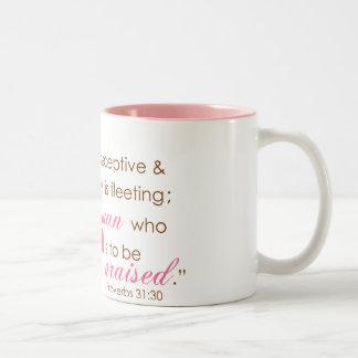 Proverbs 31:30 Two-Tone coffee mug