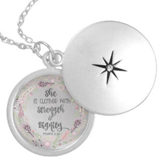 Proverbs 31 Strength and Dignity Locket Necklace