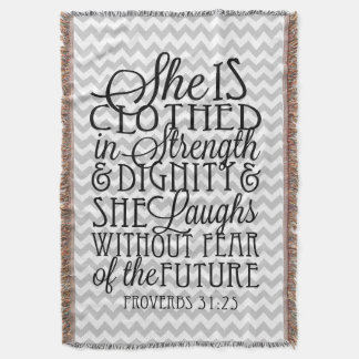 Proverbs 31 / Strength & Dignity Chevron Blanket Throw