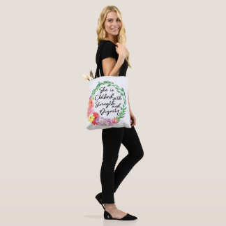 Proverbs 31 Woman Clothed with Strength & Dignity Tote Bag