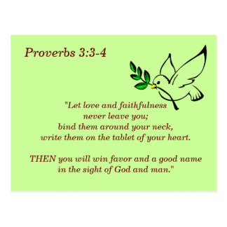 Proverbs 3:3-4 Scripture Memory Card Postcard