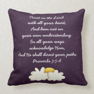Proverbs 3:5-6 Bible Verse Custom Christian Gift Throw Pillow