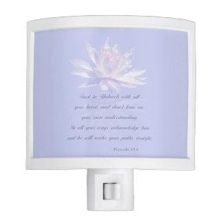 Proverbs 3:5-6   Bible Verse   Lavender Floral Night Lite