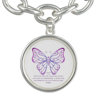 Proverbs 3:5,6 Scripture Inspiration Butterfly Charm Bracelet