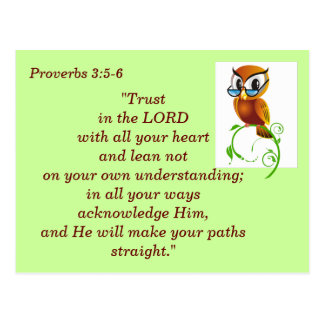 Proverbs 3:5-6 Scripture Memory Card Postcard