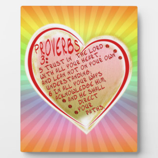 PROVERBS 3:5-6 TRUST IN THE LORD W ALL YOUR HEART PLAQUE