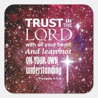 Proverbs 3:5 square sticker