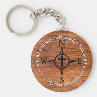 Proverbs 3:6 Direct Your Paths Bible Verse Compass Basic Round Button Keychain