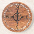 Proverbs 3:6 Direct Your Paths Bible Verse Compass Coaster