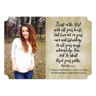 Proverbs 3 Christian Bible Verse Photo Graduation Card