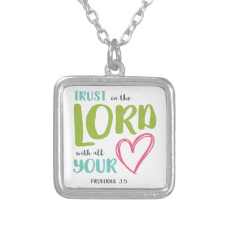 PROVERBS 3 VERSE 5 SILVER PLATED NECKLACE