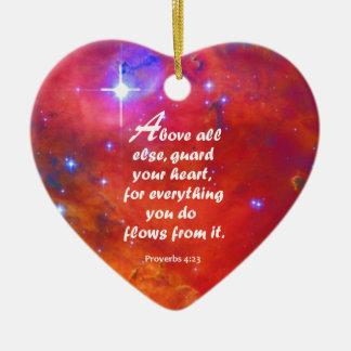 Proverbs 4:23 ceramic ornament