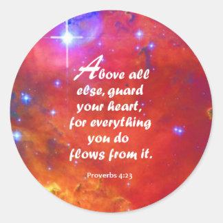 Proverbs 4:23 classic round sticker
