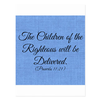 Proverbs Bible verse The children of the righteous Postcard