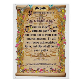 Proverbs Chapter 3 verses 5-6 Trust in the Lord Poster