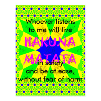 Proverbs Latest Hakuna Matata Beautiful Amazing Postcard